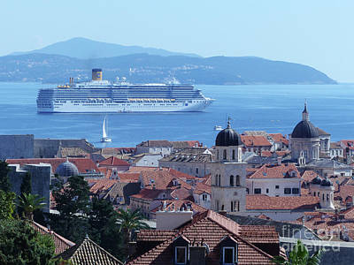 Photograph - Dubrovnik - Old City And Cruise Ship by Phil Banks