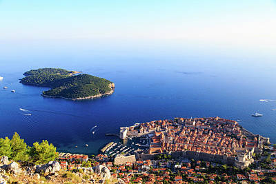 Aerial Photograph - Dubrovnik Old Town In Croatia, Aerial View by NadyaEugene Photography