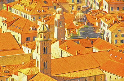Digital Art - Dubrovnik Old Town Roofs by Dennis Cox