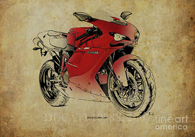 Ducati 1098s, Gift For Bikers, Original Gift For Dad Art Print