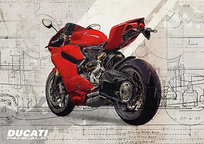 Road Digital Art - Ducati 1199 Panigale by Yurdaer Bes
