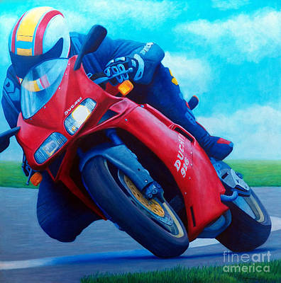 Motorcycle Wall Art - Painting - Ducati 916 by Brian  Commerford