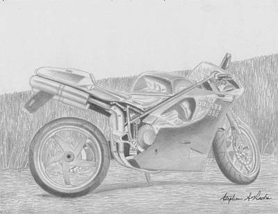 Ducati 998 Motorcycle Art Print Drawing By Stephen Rooks