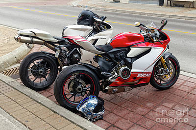 Photograph - Ducati Duo by Les Palenik