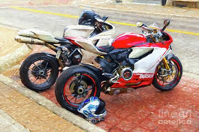 Photograph - Ducati Duo - Painterly by Les Palenik