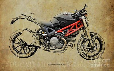 Ducati Monster 796 2013 Version B Art Print