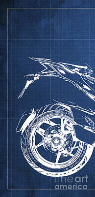 Bike Drawing - Ducati Multistrada 1200 Blueprint - 1 Of 3 by Pablo Franchi