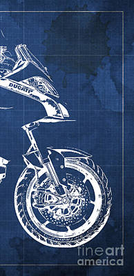 Motorcycle Drawing - Ducati Multistrada Blueprint With Quote - 3 Of 3 by Pablo Franchi