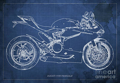 Home Decoration Mixed Media - Ducati Panigale 1199 Blueprint Blue Background Christmas Gift by Pablo Franchi
