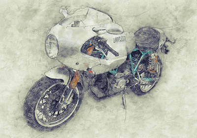 Mixed Media - Ducati Paulsmart 1000 Le 1 - 2006 - Motorcycle Poster - Automotive Art by Studio Grafiikka