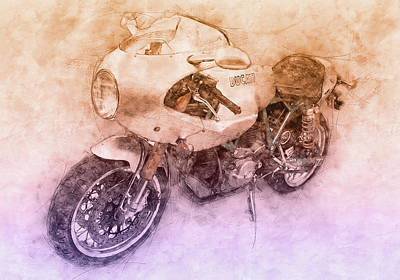 Royalty-Free and Rights-Managed Images - Ducati PaulSmart 1000 LE 2 - 2006 - Motorcycle Poster - Automotive Art by Studio Grafiikka