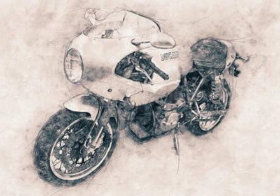 Mixed Media Royalty Free Images - Ducati PaulSmart 1000 LE - 2006 - Motorcycle Poster - Automotive Art Royalty-Free Image by Studio Grafiikka