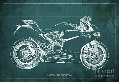 Father Digital Art - Ducati Superbike 1299 Panigale 2015, Gift For Men, Green Background by Pablo Franchi
