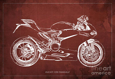 Vintage Poster Mixed Media - Ducati Superbike 1299 Panigale 2015, Gift For Men, Red Background by Pablo Franchi