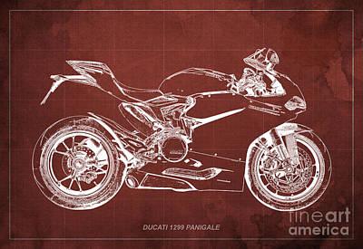 Digital Art - Ducati Superbike 1299 Panigale 2015, Gift For Men, Red Vintage Background by Pablo Franchi