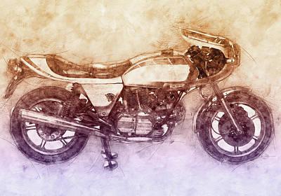 Mixed Media Royalty Free Images - Ducati SuperSport 2 - Sports Bike - 1975 - Motorcycle Poster - Automotive Art Royalty-Free Image by Studio Grafiikka