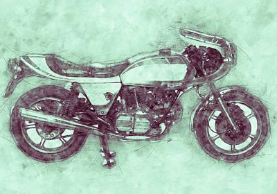 Mixed Media Royalty Free Images - Ducati SuperSport 3 - Sports Bike - 1975 - Motorcycle Poster - Automotive Art Royalty-Free Image by Studio Grafiikka