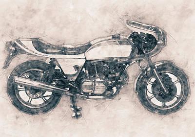 Mixed Media Royalty Free Images - Ducati SuperSport - Sports Bike - 1975 - Motorcycle Poster - Automotive Art Royalty-Free Image by Studio Grafiikka