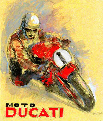Cycles Painting - Ducati Vintage Motorcycle Ad by Big 88 Artworks