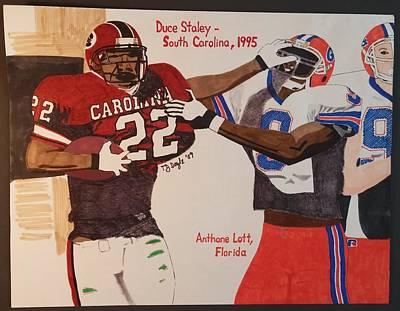 Philadelphia Eagles Drawing - Duce Staley - South Carolina by TJ Doyle