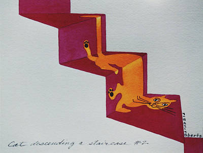 Duchamp's Cat Descending A Staircase  No. 2 Print by Eve Riser Roberts