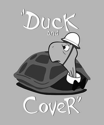 Birds Digital Art Rights Managed Images - Duck and Cover - Vintage Nuclear Attack Poster Royalty-Free Image by War Is Hell Store