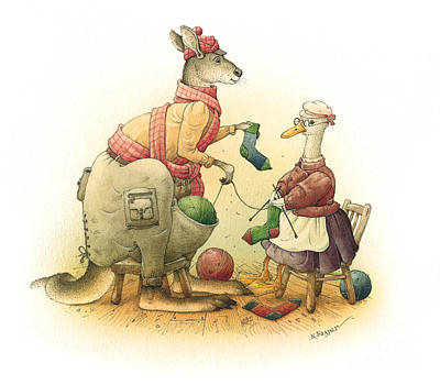Ducks Painting - Duck And Kangaroo by Kestutis Kasparavicius