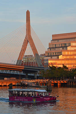 Photograph - Duck Boat In Front The Lenny Zakim Bridge Boston Ma by Toby McGuire