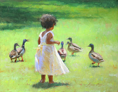 Duck Wall Art - Painting - Duck Chase by Anna Rose Bain
