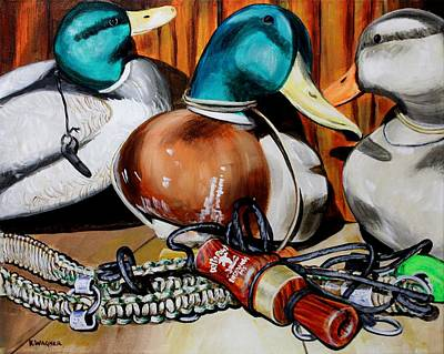 Painting - Duck Decoys And Call Still Life by Karl Wagner