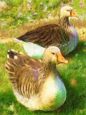 Digital Art - Gandering Geese by Ric Darrell
