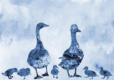 Poultry Digital Art - Duck Family-blue by Erzebet S
