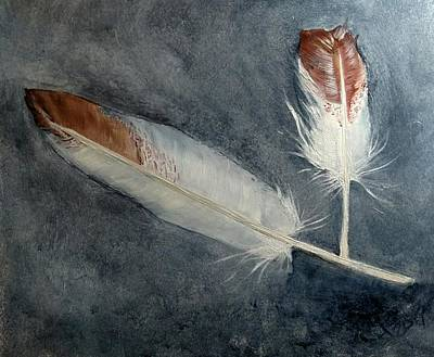 Painting -  Duck Feathers by Joan Mansson