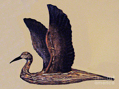Sculpture - Duck Flying - Wood Carving No. 2 by Merton Allen