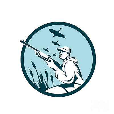 Goose Digital Art - Duck Hunter Rifle Circle Retro by Aloysius Patrimonio