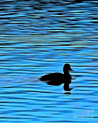 Digital Art - Duck On Blue Waters by Patricia Strand