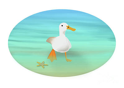 Digital Art - Duck Paddling At The Seaside by Beverley Brown