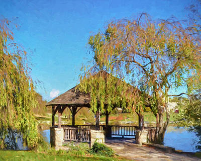Duck Pond Gazebo At Virginia Tech Art Print