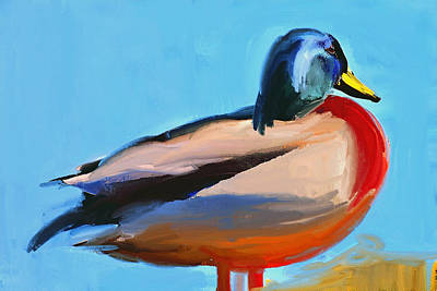 Digital Art - Duck Red And Blue by Yury Malkov