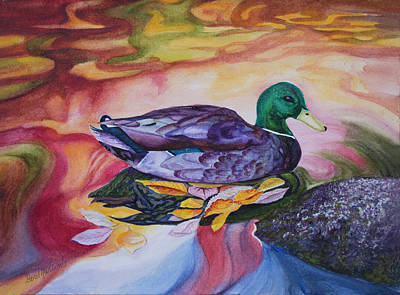 Painting - Duck Reflections by Beverly Martin