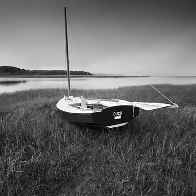 Duck Sail Boat Black And White Photography Art Print
