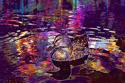 Digital Art - Duck Water Lake Nature Waters  by PixBreak Art