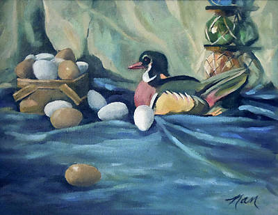 Blue Bouys Painting - Duck With Eggs Greeting Card by Nancy Griswold