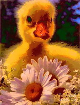 Painting - Fuzzy Duckling And Daisies by Catherine Lott