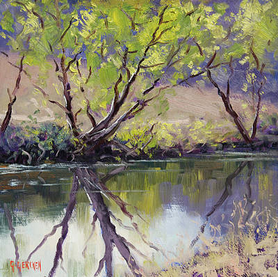 Impressionist Creek Oil Painting - Duckmaloi River Reflections by Graham Gercken