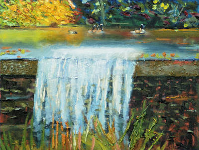 Painting - Ducks And Waterfall by Michael Daniels