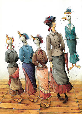 Painting - Ducks Dance by Kestutis Kasparavicius