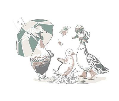 Bid Drawing - Ducks Family by Victoria Sinkevych