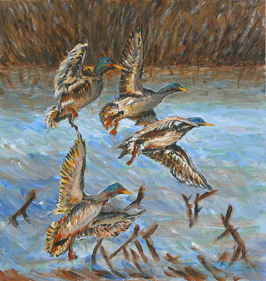 Wildlife Imagery Painting - Ducks Flying by Brendan  Quirk