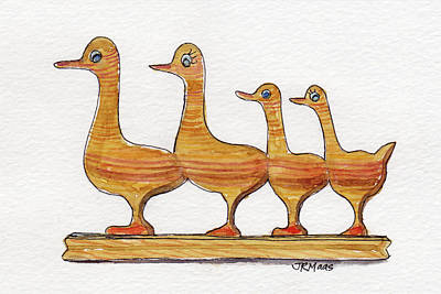 Painting - Ducks In A Row by Julie Maas